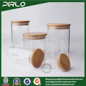 300ml 10oz Clear Borosilicate Glass Jar with Sealed Bamboo Wood Lid Empty Dry Food Cookie Storage Glass Jar pictures & photos