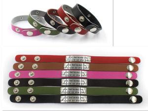 2017 Free Custom Engraved Inspirational Message Genuine Leather Snap Bracelet