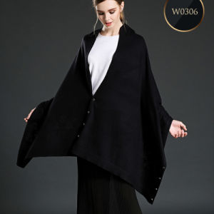 Black Woolen Scarf Shawl with Buttons pictures & photos