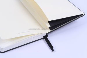 High Quality PU Cover Moleskine Notebook with Double Pocket pictures & photos