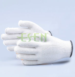 Natural 10 Pins White Cotton Polyester String Knit Seamless Glove Bulk 50g Doz pictures & photos