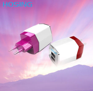 5V 2.1A Dual USB Fast Wall Charger Black/White/ Gray pictures & photos