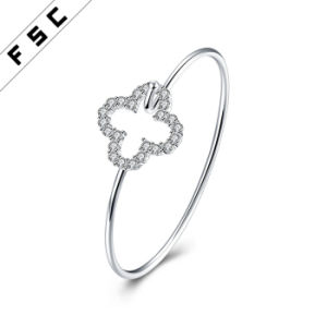 Fashion Jewelry Easy Wear Silver Plated CZ Flower Bracelet Bangle pictures & photos