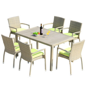 Patio Wicker Furniture Garden Home Office Aluminum Plastic Wood Table and Arm Chair (J818-90) pictures & photos