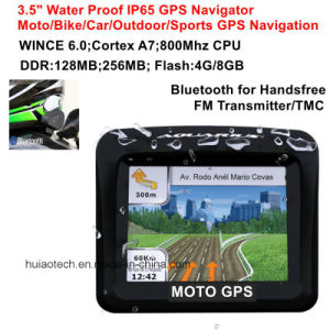 "IP65 Waterproof motorcycle Bike Car GPS Navigation with Bluetooth Handsfree, FM Transmitter, 3.5""TFT Screen for Outdoor Sports Action GPS Navigator pictures & photos"