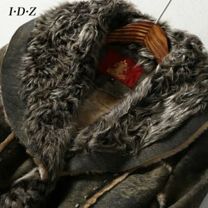 Lady′s Genuine Shearing Leather and Fur Jacket Long Style pictures & photos