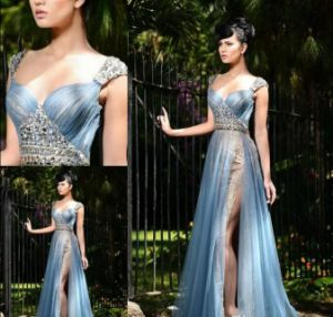 Blue Chiffon Prom Gowns Beading Lace Party Evening Dresses Ld1032 pictures & photos