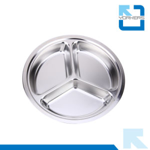 Cheap Price Stainless Steel Round Food Tray for School pictures & photos
