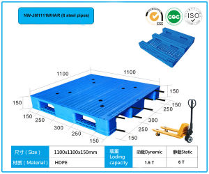 Steel Pipes Reinforced Anti-Static HDPE Plastic Pallets 1100*1100 pictures & photos