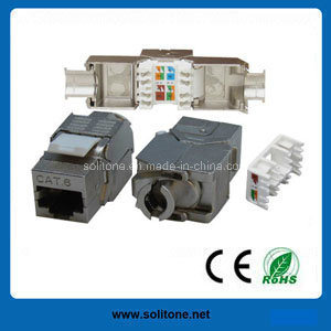 RJ45 FTP/STP Cat5e CAT6A Toolless Keystone Jack 180 Degree pictures & photos