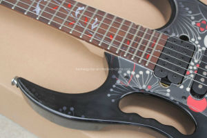 Hanhai Music / Black Electric Guitar with Flower Veneer (JEM 77FP) pictures & photos