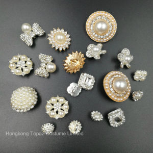 Wedding Decoration Silver 22mm Round Rhinestones Buttons Pearl Button (TB-100) pictures & photos