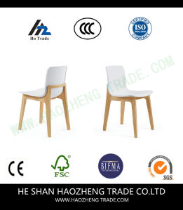 Hzpc008 White Plastic Chair Solid Wood Feet