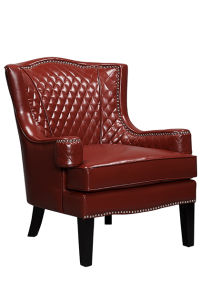 Dark Red PU Leather Accent Chair with Wood Frame