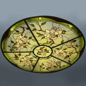 Hand Cut Gothic Architecture Stained Glass Dome with Metal Frame Base pictures & photos