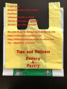 HDPE Plastic Shopping Bag T-Shirt Bag with Printing pictures & photos