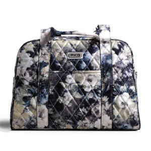 Simple Design Ladies Portable Flower Pattern Weekend Travel Bag/ Luggage Bag with Adjustable Shoulder Belt pictures & photos
