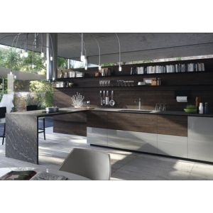 High Quality Handle-Free Lacquer and Wood Grain Melamine Kitchen Cabinet pictures & photos