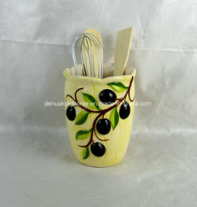 Hand-Painted Ceramic Utensil Holder with Olive Design pictures & photos