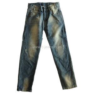 Men′s Straight Jeans Monkey Wash Denim Jeans