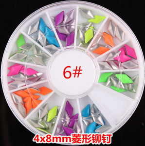 New Design Nail Art Decoration Stickers Metallic Stud Candy Colour Rivet 4 *8mm Size Diamond