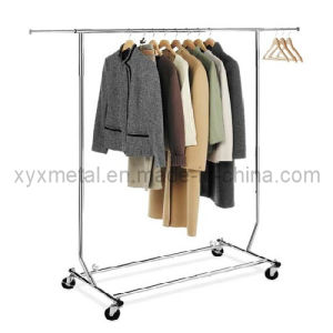 Folding Stainless Steel Clothes Hanger Rails Rolling Garment Display Rack pictures & photos