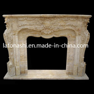 Natural Stone Fireplace, Modern Beige Marble Fireplace Mantel for Sale pictures & photos