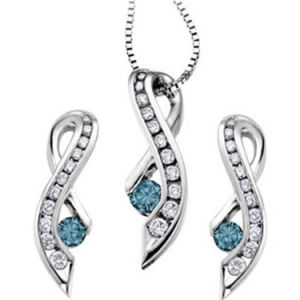 Classy Designer Sterling Silver Rhodium Pendant Earrings Necklace Jewelry Set
