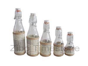 Weaving Round Glass Bottle With Hinge (TM1156) pictures & photos