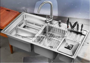 Stainless Steel Handmade Kitchen Sink with Soap Container (QW-9149) pictures & photos