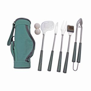 7-Piece Golf Shaped BBQ Grilling Tool Set with Carry Bag, Golf Grip Grilling Set pictures & photos