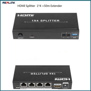 1X4 HDMI Splitter+50m Extender Over Cat5e/CAT6 with IR+Edid Control pictures & photos