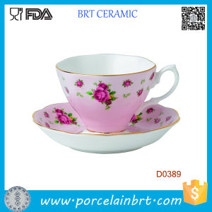 New Country Rose Solid Color Vintage Ceramic Teacup and Saucer pictures & photos