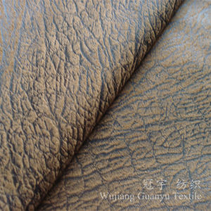 Micor Suede Nucbuck Leather Fabric with Bronzing Treatment pictures & photos