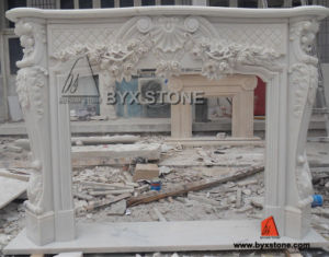 Chinese White Marble Fireplace with Flower Carving pictures & photos