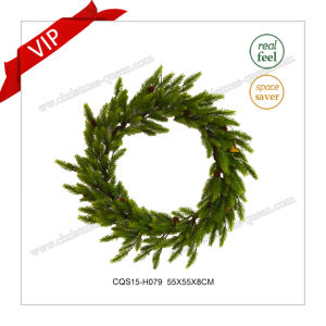 22 Inch Handmade Plastic Artificial Wreath Christmas Decoration pictures & photos