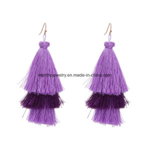 New Fashion Elegant Multi-Colors Multi-Layer Cotton Tassel Earrings for Nightclub pictures & photos