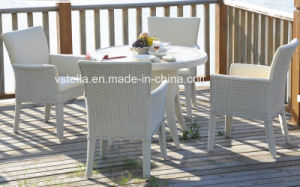 PU Leather Rattan Dining Set Garden Set pictures & photos