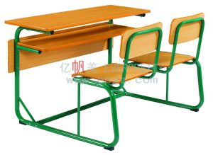 Everpretty Furniture Study Table for Reading, Double Seaters Moulded Wood Table Chair (GT-47) pictures & photos