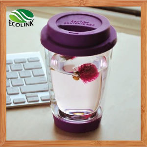 Customize 400ml Double Wall Glass Cup with Silicon Lid pictures & photos