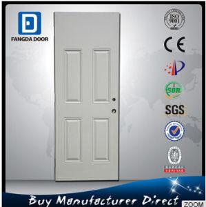 Wooden Look Premium 4 Panel Designs Steel Entry Front Prehung Exterior Door Slab pictures & photos
