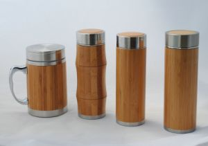 Bamboo Water Cup and Water Bottle with Strainer Lid pictures & photos
