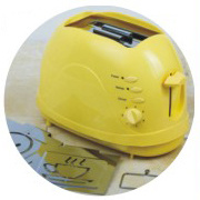 Toaster with Detachable Roasting Logo Yellow Color (WT-819R) pictures & photos