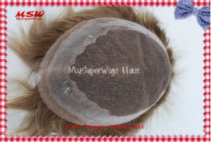 French Lace Poly Binding Human Hair Men′s Hairpiece pictures & photos