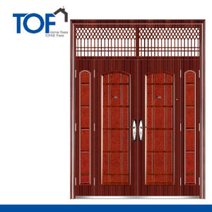 Decorated CIQ Soncap High Quality Steel Security Double Swing Door