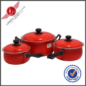 3 PCS Red Decal Kitchenware Enamel Cookware Set pictures & photos