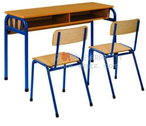 Durable School Furniture Wooden Double Student Desk and Chairs pictures & photos