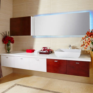 Luxury White Half Red Cherry Bathroom Cabinet pictures & photos