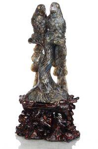 Natural Bird Parrot Crystal Carved Labradorite Stone Sculpture Home Decor Aj50