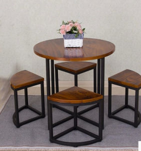 Solid Wood Metal Table and Chairs with High Quality (M-X3012) pictures & photos